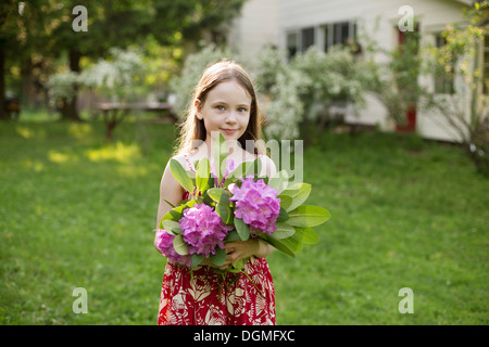 A young girl holding a bunch of purple hydrangea flowerheads. - Stock Photo