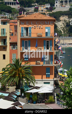 Welcome Hotel, Villefranche-sur-Mer, French Riviera, Alpes-Maritimes, Provence-Alpes-Côte d'Azur, France - Stock Photo