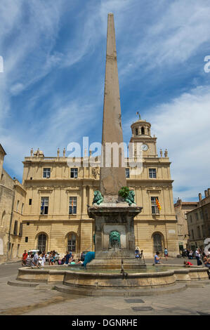 Place de la Republique or Republic Square, Arles, Département Bouches-du-Rhône, Region Provence-Alpes-Côte d'Azur - Stock Photo
