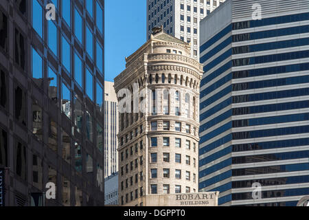 Skyscrapers in the financial district, old and new, in contrast, Financial District, San Francisco, California, - Stock Photo