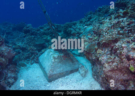 An anchor made of concrete blocks in the coral reef, Philippines, Asia - Stock Photo