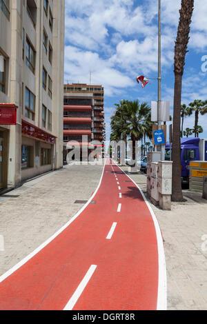 Bike lane on Ave de Canarias street, Las Palmas, Gran Canaria, Canary Islands, Spain, Europe, PublicGround - Stock Photo