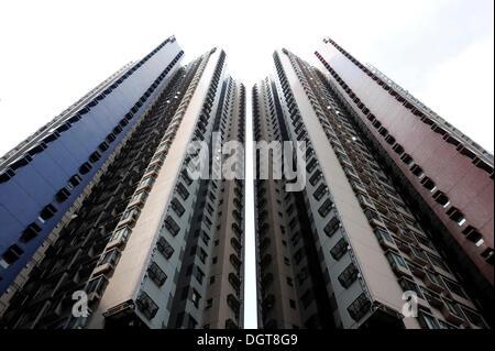 Two identical residential towers, high-rise buildings in the Sheung Wan quarter, Hong Kong Island, Hong Kong, China, - Stock Photo