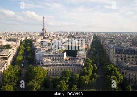 View from the Arc de Triumph/Triomphe down the Champs Elysees with the Eiffel tower in the background, Paris, France - Stock Photo