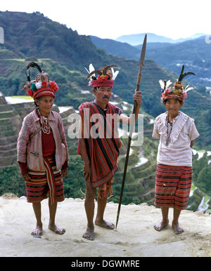 Ifugao people, members of an ethnic group wearing traditional costumes, Banaue Rice Terraces, also known as musuan - Stock Photo