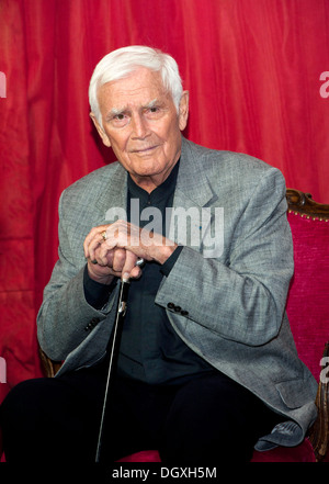 Actor Joachim Blacky Fuchsberger at a press conference in Munich, Bavaria - Stock Photo