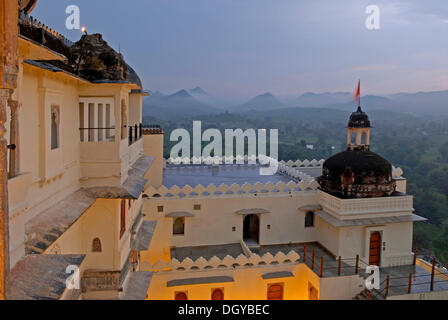 Devigarh Palace Hotel in the monsoon, near Udaipur, Rajasthan, India, Asia - Stock Photo