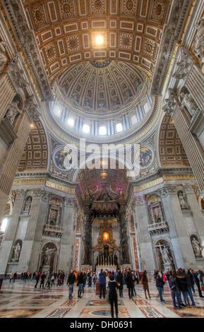 St. Peter's Basilica, dome area and the papal altar, Fontana di Trevi, Rome, Lazio, Italy - Stock Photo
