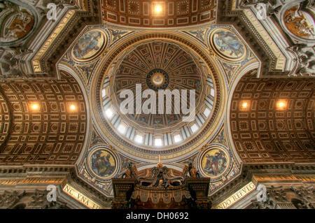 Crossing or intersection in the dome area of St. Peter's Basilica, Fontana di Trevi, Rome, Lazio, Italy - Stock Photo