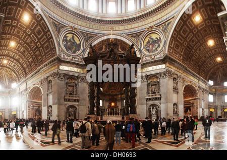 Dome area and the papal altar, St. Peter's Basilica, Fontana di Trevi, Rome, Lazio, Italy - Stock Photo