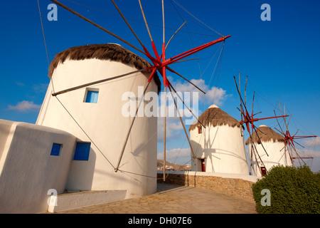 The traditional Greek windmills of Mykonos Chora. Cyclades Islands, Greece - Stock Photo