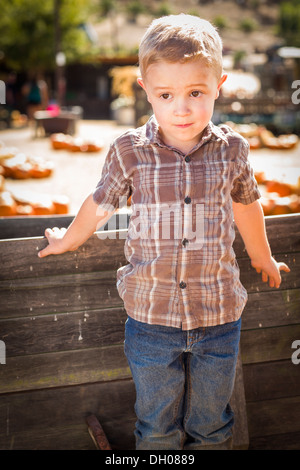 Adorable Little Boy Standing Against Old Wood Wagon At Pumpkin Patch Dh on Old Deseret Village Salt Lake City