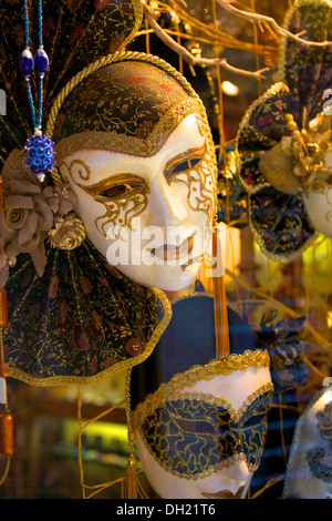 Venetian Masks in Shop Window, Venice, Italy - Stock Photo