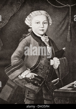 Wolfgang Amadeus Mozart, 1756 - 1791, as a child. Austrian composer and musician. - Stock Photo