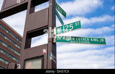 Dr. Martin Luther King Jr. Boulevard and Malcolm X Boulevard in Harlem in NYC - Stock Photo