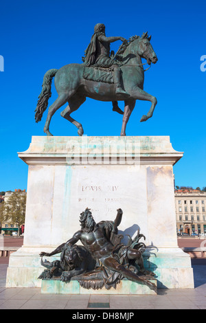 Famous Equestrian statue of Louis XIV, Place Bellecour in Lyon, France - Stock Photo