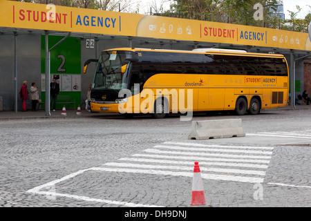 Student Agency, bus, Prague Czech Republic - Stock Photo