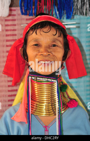 Hill Tribes in Thailand – A Long Neck Karen Woman (Mae Hong Son) - Stock Photo