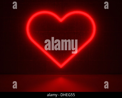 Red Heart - Series Neon Signs - Stock Photo