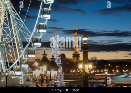 Poue de Paris, Place de la Concorde and Eiffel Tower, Paris, France, Europe - Stock Photo