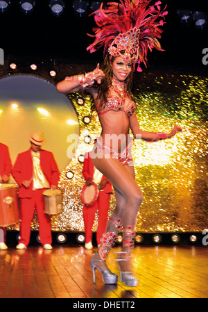 Brazil, Foz do Iguacu: Artists performing on stage during Dinner Show 'Latin America Show' in the Churrascaria Rafain - Stock Photo