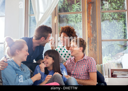 Group of friends laughing - Stockfoto
