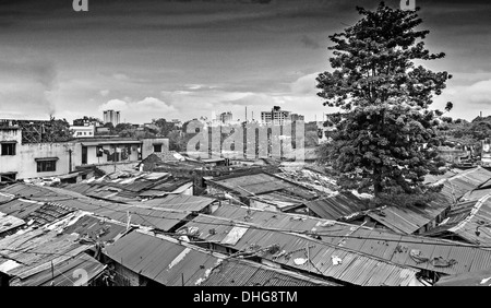 Calcutta skyline, slum area, Bengal, India in black and white - Stock Photo
