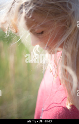 Close up portrait of woman with blonde hair, Wales, UK - Stock Photo