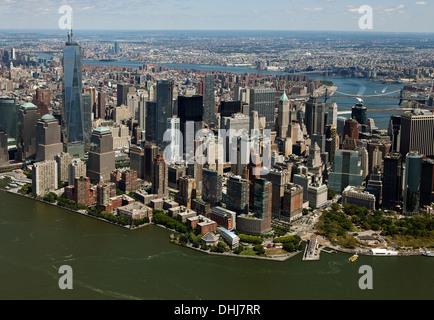 aerial photograph Battery Park City Lower Manhattan, New York - Stock Photo