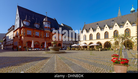Market Square, Kaiserworth and town hall, Goslar, Germany - Stock Photo