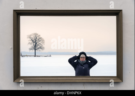 Wall with picture frame on Lake Schwerin - Stock Photo