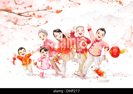 Big family celebrating Chinese New Year - Stockfoto