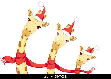 Giraffes celebrating Christmas - Stock Photo