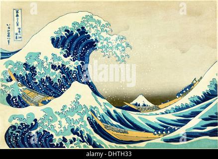 The Great Wave off Kanagawa - by Katsushika Hokusai, 1829 - Stock Photo
