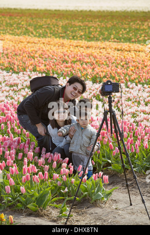 Netherlands, Lisse, Asian family posing in tulip field - Stock Photo