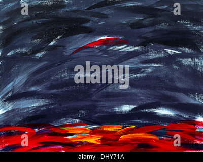 Modern abstract acrylic painting on canvas, by Ed Buziak. - Stock Photo