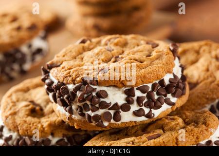 Homemade Chocolate Chip Cookie Ice Cream Sandiwch - Stock Photo