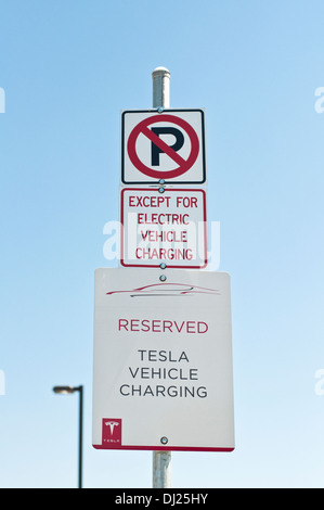Tesla Sign At A Charging Station Stock Photo Royalty Free