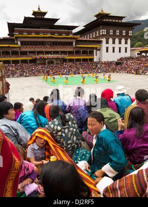 Bhutan, Thimpu Dzong, annual Tsechu, audience around festival ground - Stock Photo