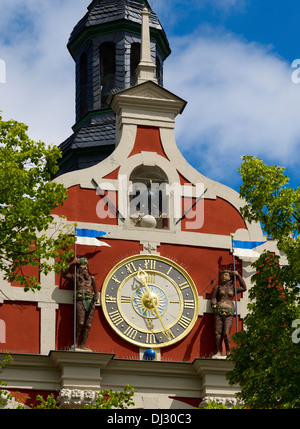 Renaissance town hall on the market square, Arnstadt, Thuringia, Germany - Stock Photo