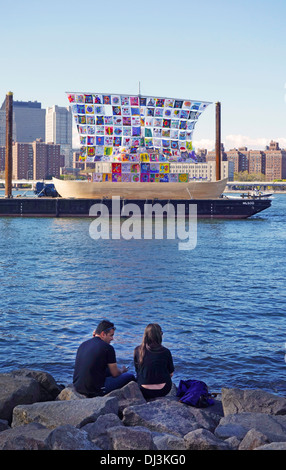 ship of tolerance sailing in Brooklyn - Stock Photo