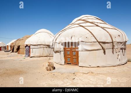 Yurts, Ayaz Kala Yurt Camp, Ayaz Kala, Khorezm, Uzbekistan - Stock Photo