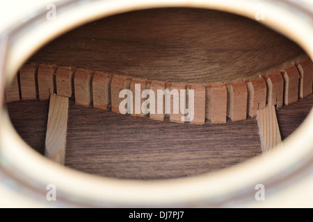inner Lining of acoustic guitar - Stockfoto