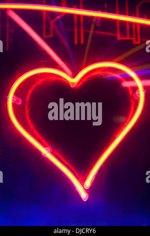 Neon heart sign - Stock Photo