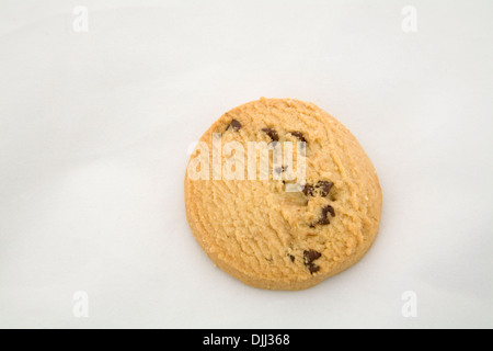 Close up single chocolate chip shortbread cookie biscuit on white background - Stock Photo