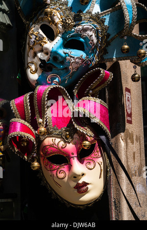 Apair of traditional Venetian Carnival masks, Veneto, Italy. - Stock Photo
