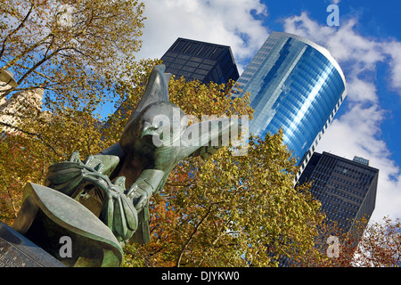 East Coast Memorial eagle statue in Battery Park, New York. America - Stock Photo