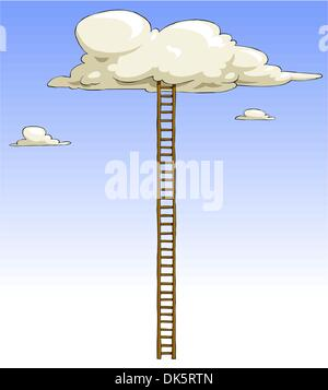 Cartoon ladder to the clouds, vector illustration - Stockfoto