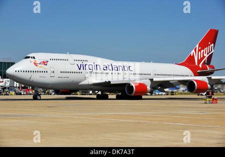 Virgin Atlantic Boeing 747 at Gatwick Airport Terminal, London, Britain, UK - Stock Photo