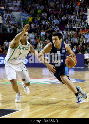 Sept. 11, 2011 - Mar del Plata, Buenos Aires, Argentina - Argentina's CARLOS DELFINO as Argentina win the FIBA Americas - Stock Photo